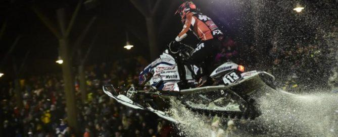 Evan Daudt snowmobile racing with C&A Pro Skis