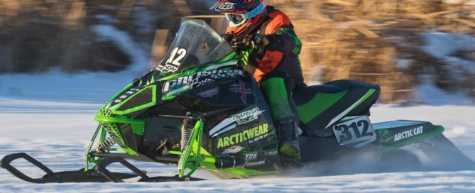 Zach Herfindahl cross country snowmobile racing