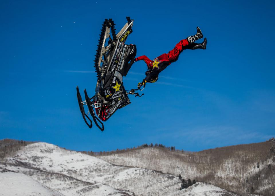 Colten Moore competes at Xgames snowmobile freestyle
