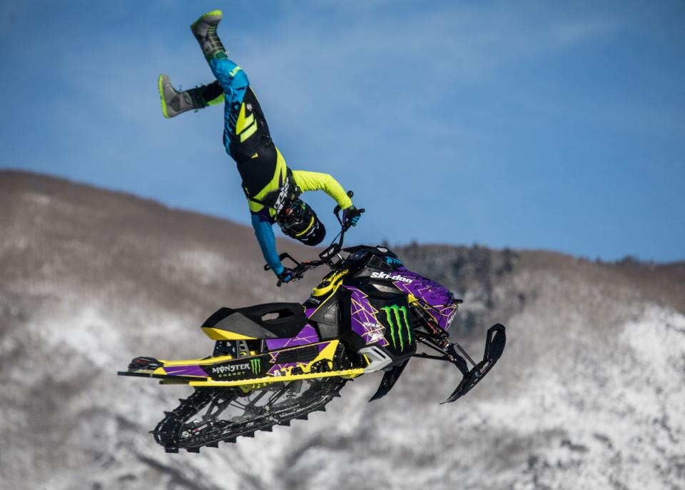 Joe Parsons compete in Snowmobile Freestyle at Xgames
