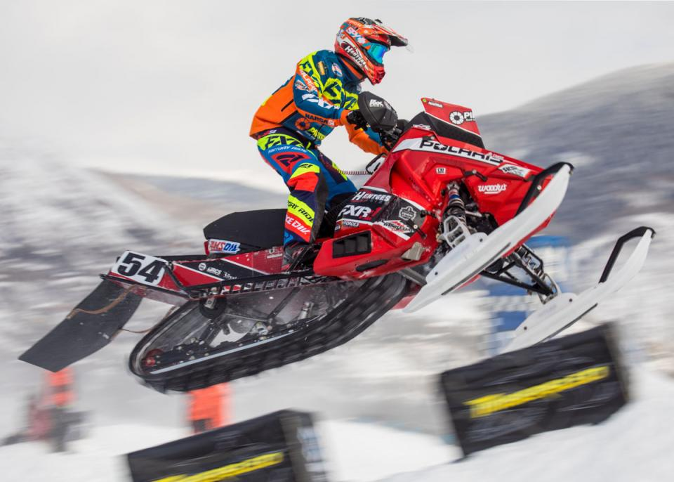 Petter Narsa competes in Snowmobile Snocross at Xgames