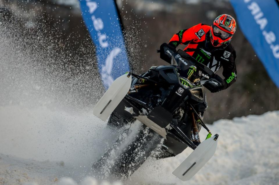 Tucker Hibbert snocross racing with C&A Pro Skis