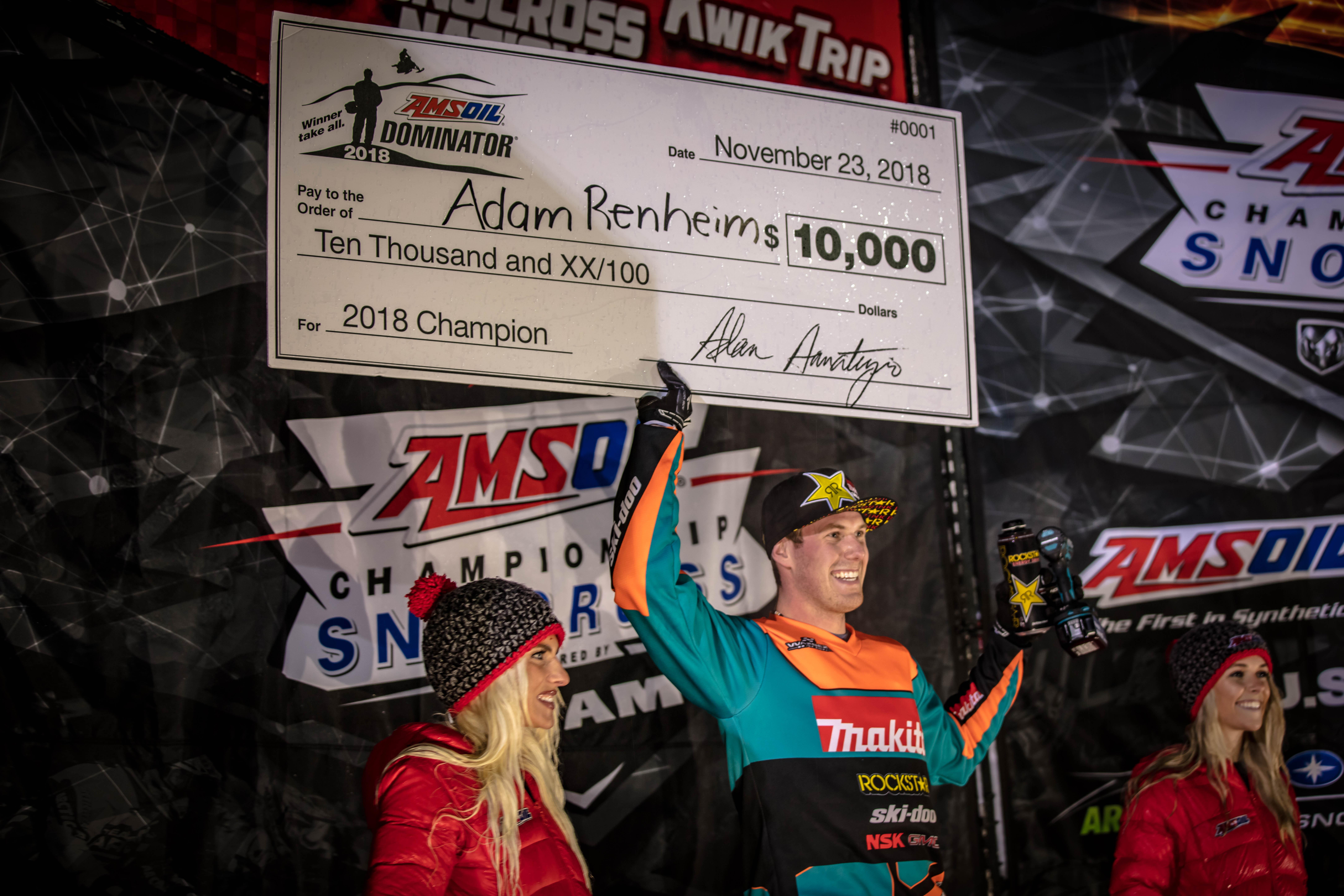 Adam Renheim Snocross Dominator champ